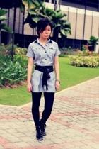 black gojanecom shoes - black stockings - black lame sash