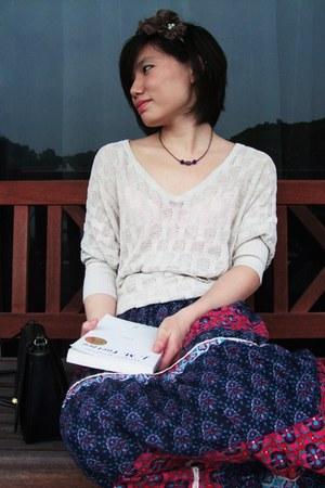 off white Mango sweater - blue no brand dress - black no brand bag