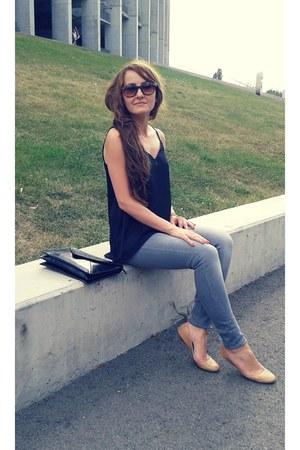 silver Bershka jeans - beige reserved shoes - brown Terra Nova sunglasses