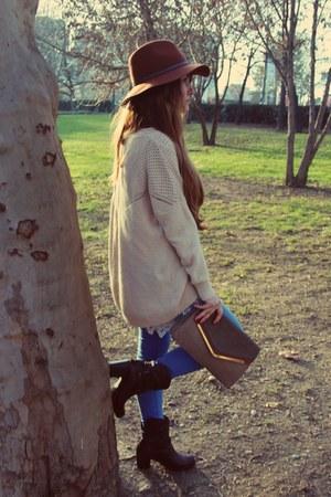 brown hat - brown Stradivarius hat