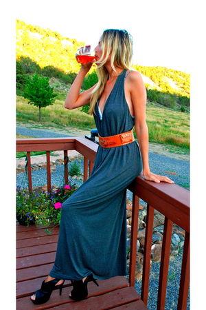 gray Ralph Lauren dress - orange calvin klein belt - black Bebe shoes - Victoria