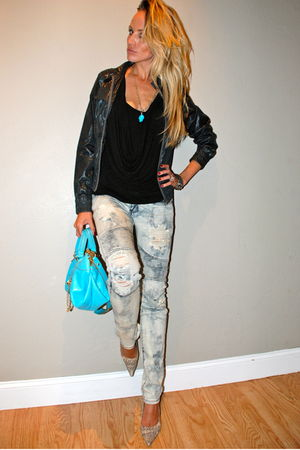 black Converse jacket - gray snake skin Nine West shoes