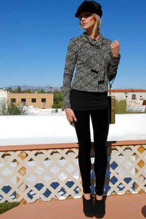 black dvf jacket - black velvet Vtg hat - gold HOBO bag - black velvet H&M pants