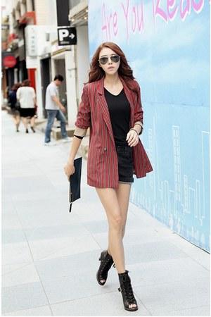brick red striped Filthy Magic blazer