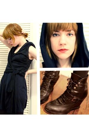 black complex geometries dress - black AOK vest - black surface to air boots