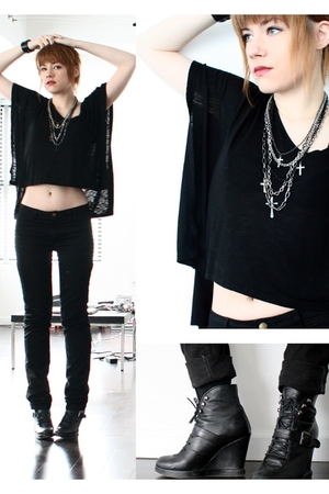 black aok from oak top - black American Apparel pants - black surface to air boo