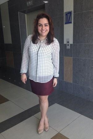 crimson bandage skirt skirt - tan pointed wedges shoes