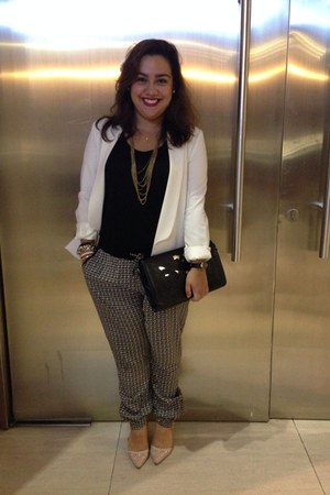 eggshell Forever 21 blazer - black pants - light pink heels