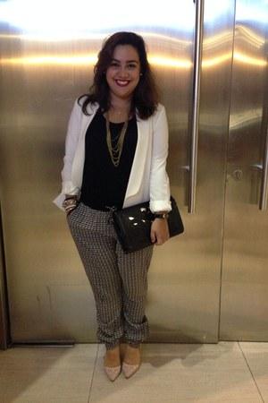 eggshell Forever 21 blazer - black pants - light pink heels