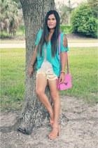 hot pink LoveCulture bag - peach francescas shoes - yellow KhojoVintage shorts