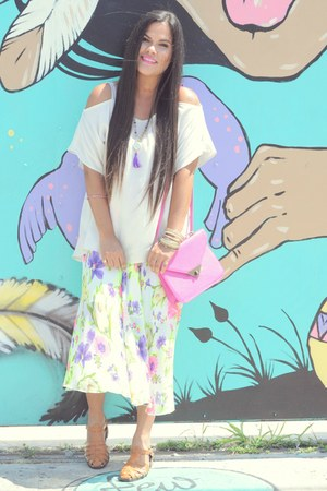 bubble gum OASAP skirt - purple Beadmania necklace - camel chicnova sandals