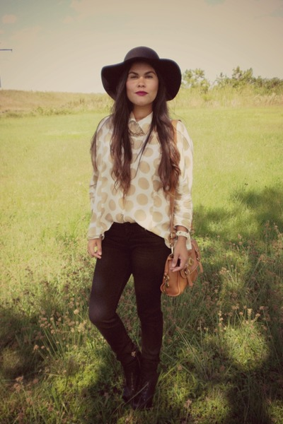 floppy Walmart hat - litas Jeffrey Campbell boots - skinny H&M Trend jeans