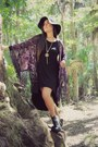 Deep-purple-kimono-nasty-gal-cardigan-black-high-low-forever-21-dress