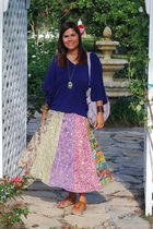 blue francescas skirt - Marshalls shoes - purple elle bag - Anthropologie blouse