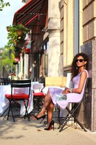 lavender asos dress - wayfarer Ray Ban sunglasses