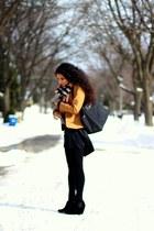 black longchamp bag - suede Vince Camuto boots - cashmere Burberry scarf