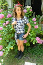 Boots-shorts-blouse-is-soft-and-red-bandana-accessories