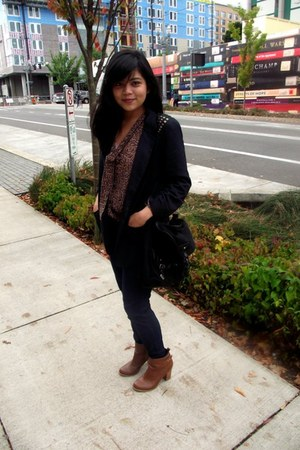 bronze H&M boots - dark gray I heart ronson blazer - dark gray olsenboye bag