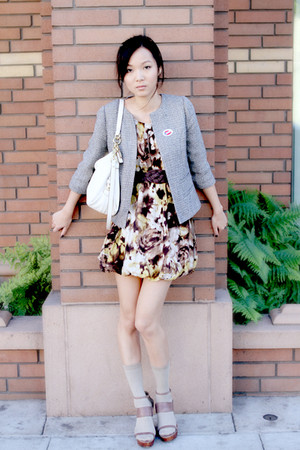 olive green Japanese dress - brown no brand belt - camel Sparkle and Fade blazer