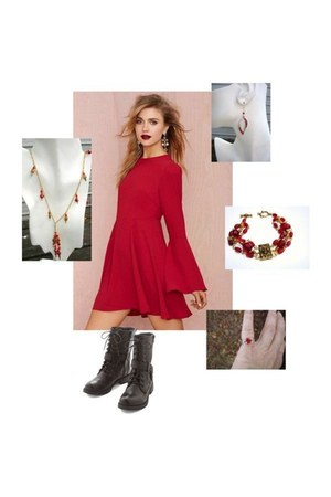ruby red Nasty Gal dress