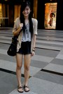 Heather-gray-shirt-black-bag-black-shorts-maroon-sandals-nude-cardigan