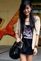 nude cardigan - black bag - navy floral print top - black skirt
