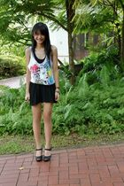 black shoes - black Tank top - white Tank top