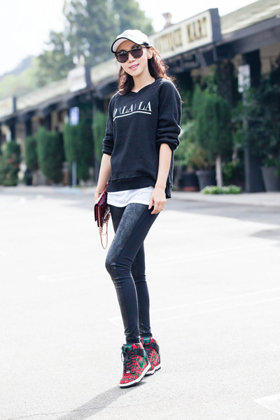 Zella leggings - Karen Walker sunglasses - nike sneakers - Wildfox sweatshirt