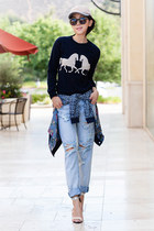 JCrew sweatshirt - One Teaspoon jeans - JCrew hat - free people jacket