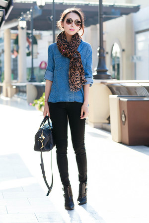 Louis Vuitton scarf - Tibi boots - Hudson jeans - Anthropologie shirt
