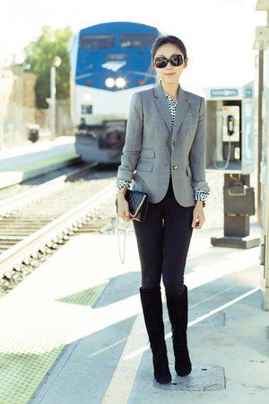 JCrew blazer - charcoal gray blazer - tory burch boots - Chanel sunglasses