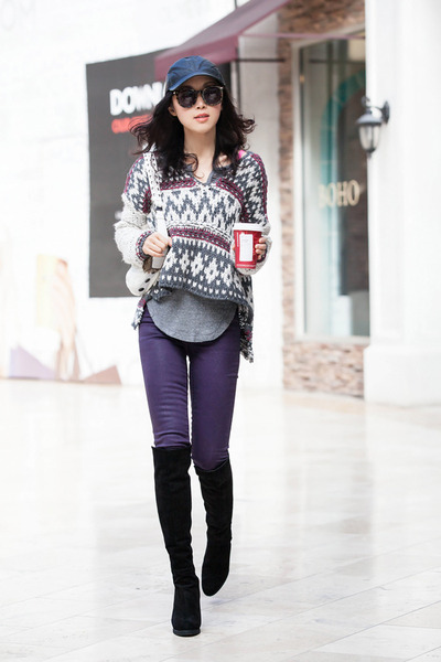free people sweater - stuart weitzman boots - J Brand jeans - asos hat