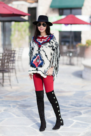 Isabel Marant cape - Valentino boots - Hudson jeans