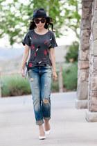 Zara t-shirt - denim supply ralph lauren jeans - Topshop heels - LARK vest