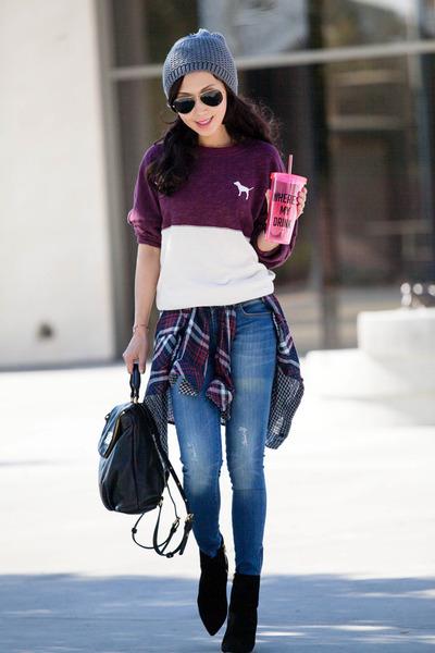 crew top victorias secret pink top - Alexander Wang boots - Anine Bing jeans