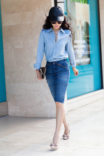 Gryphon NY shirt - light blue shirt - black hat - asos hat - blue skirt