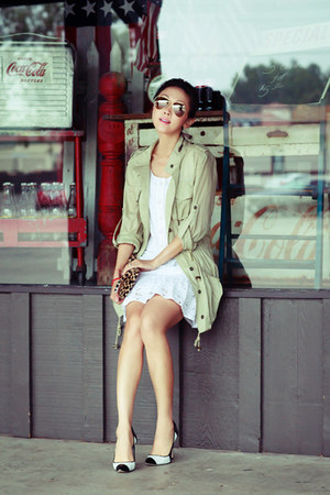 Candela NYC jacket - white dress - Juicy Couture dress - Clare Vivier bag