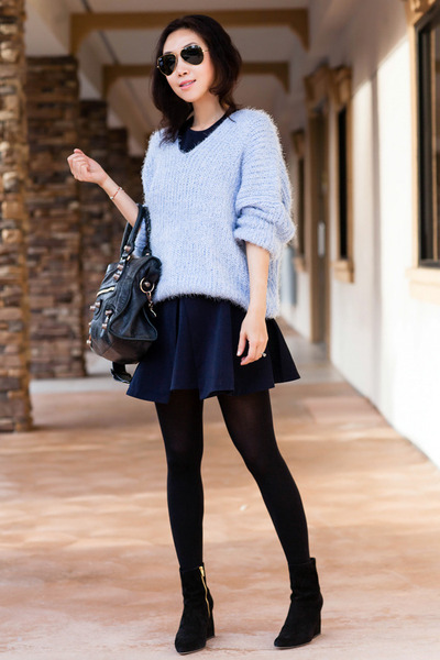 Chicwish sweater - Alexander Wang boots - cameo dress - balenciaga bag