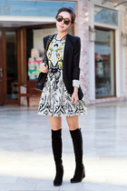 stuart weitzman boots - Juicy Couture dress - bcbg max azria blazer