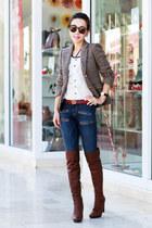 JCrew blazer - Miu Miu boots - Current Elliott jeans