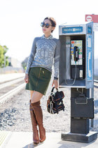 JCrew sweater - Miu Miu boots - brown boots - PROENZA SCHOULER bag