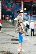 trouve jacket - Prada sunglasses - Zara skirt - Senso sandals