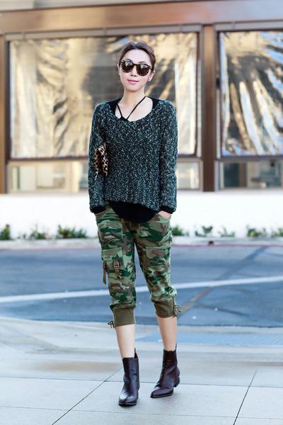 Helmut Lang sweater - Alexander Wang boots - Karen Walker sunglasses