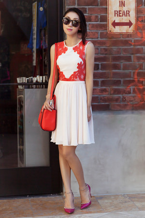 ted baker dress - light pink dress - kate spade bag - red bag