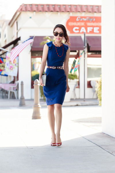 JCrew dress - JCrew belt - Karen Walker