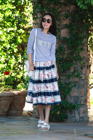 Chicwish skirt - Topshop sweater - Birkenstock flats