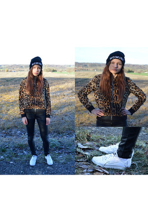 leopard print Choies jacket - text print Madlady hat - Choies pants