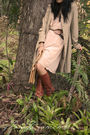 Beige-vintage-coat-pink-ladakh-dress-brown-buffalo-girl-belt-beige-vintage