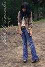 Blue-jag-jeans-brown-vintage-blazer-beige-vintage-blouse-brown-vintage-bel
