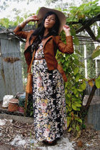 brown Sisco jacket - black wish dress - brown Kookai hat - brown vintage shoes -